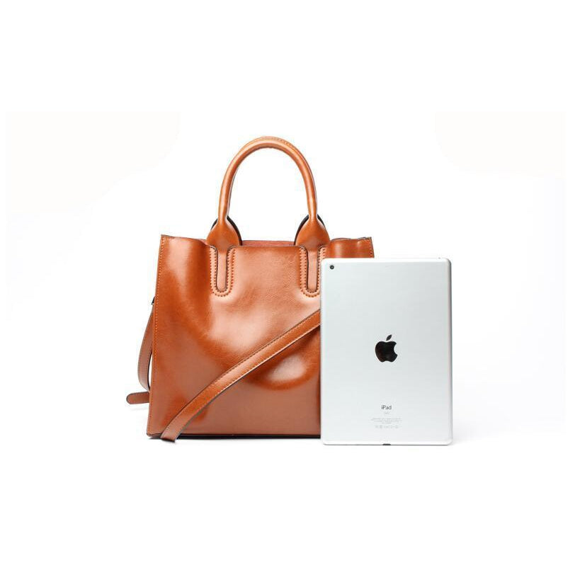 Women Brown Tote Crossbody Messenger Genuine Leather Bag with Apple IPAD