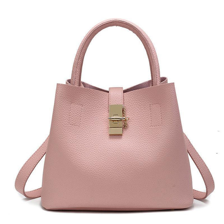 Women High-quality Synthetic Leather Tote Bag Bucket with Golden Metallic Lock System