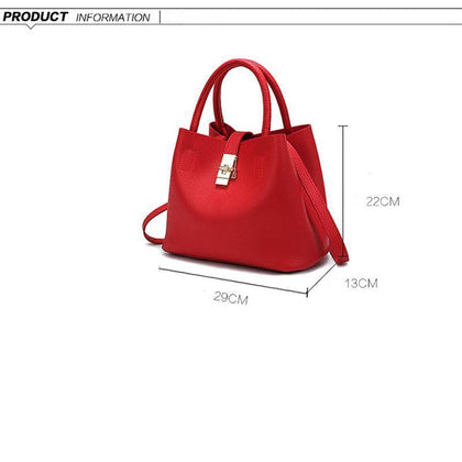 Women High-quality Synthetic Faux-Leather Tote Bag Bucket with Golden Metallic Lock System