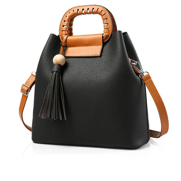 Women Tote Messenger Faux-Leather Bag with Grab Handles