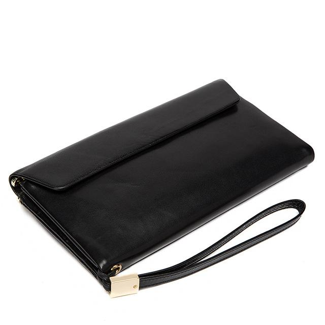 Premium Quality and Chic Long Genuine Leather Wallet for Men with Flap Closure