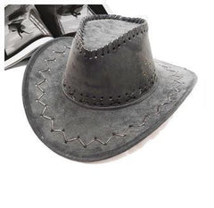 Unisex Vintage Suede Leather Hat with Wide Brim