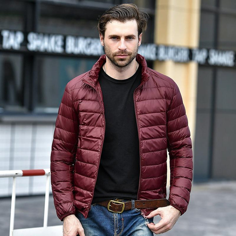 Men Red Maroon Rib Quilted Down Jacket