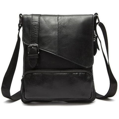 Men Black Natural Leather Shoulder Bag with a Belt Buckle Flap Closure Design
