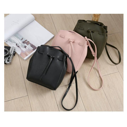Women Messenger Crossbody Tassel String Faux-Leather Bag with Bucket Design