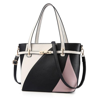 Women Asymmetrical Style Tri Color Synthetic Tote Messenger Faux-Leather Patchwork Handbag