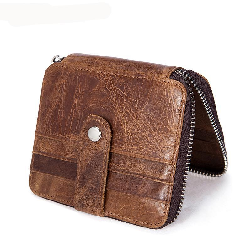 Men Coffee Distressed Leather Premium Casual Wallet with Multiple Card Slots