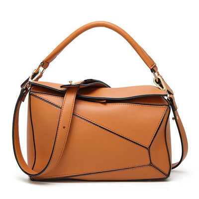 Women Brown Tote Messenger Bag with Pillow Shape Design