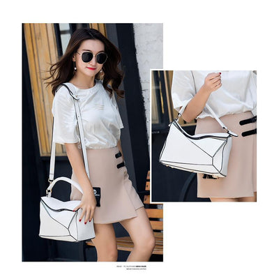 Women White Tote Messenger Bag with Pillow Shape Fashion Photography
