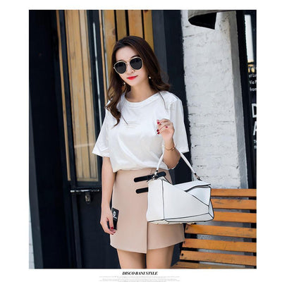 Women White Tote Messenger Bag with Pillow Shape Photography