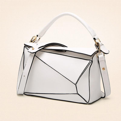 Women White Tote Messenger Bag with Pillow Shape Design
