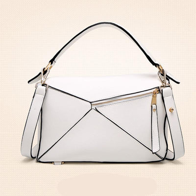 Women White Tote Messenger Bag with Pillow Shape Front