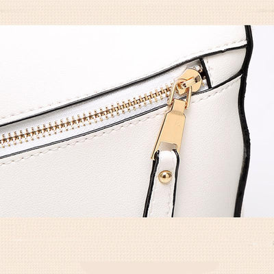 Women White Tote Messenger Bag with Pillow Shape Gold Zipper