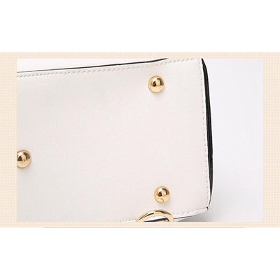 Women White Tote Messenger Bag with Pillow Shape Bottom