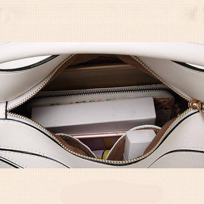 Women White Tote Messenger Bag with Pillow Shape Inside View