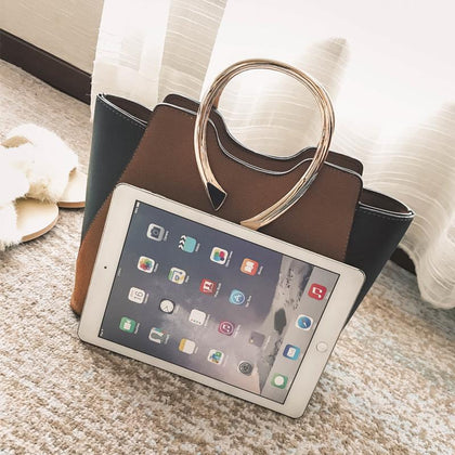 Women Brown Tote Leather Handbag Compare with Apple IPAD