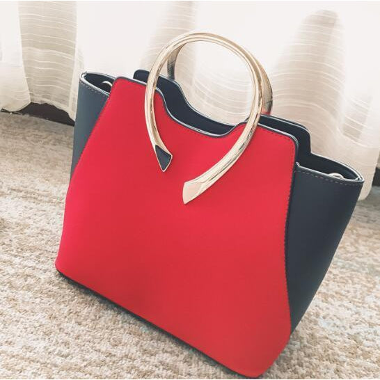 Women Red Tote Leather Handbag with Golden Metal Grab Handles