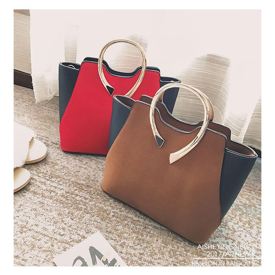 Women Tote Leather Handbag in Red and Brown