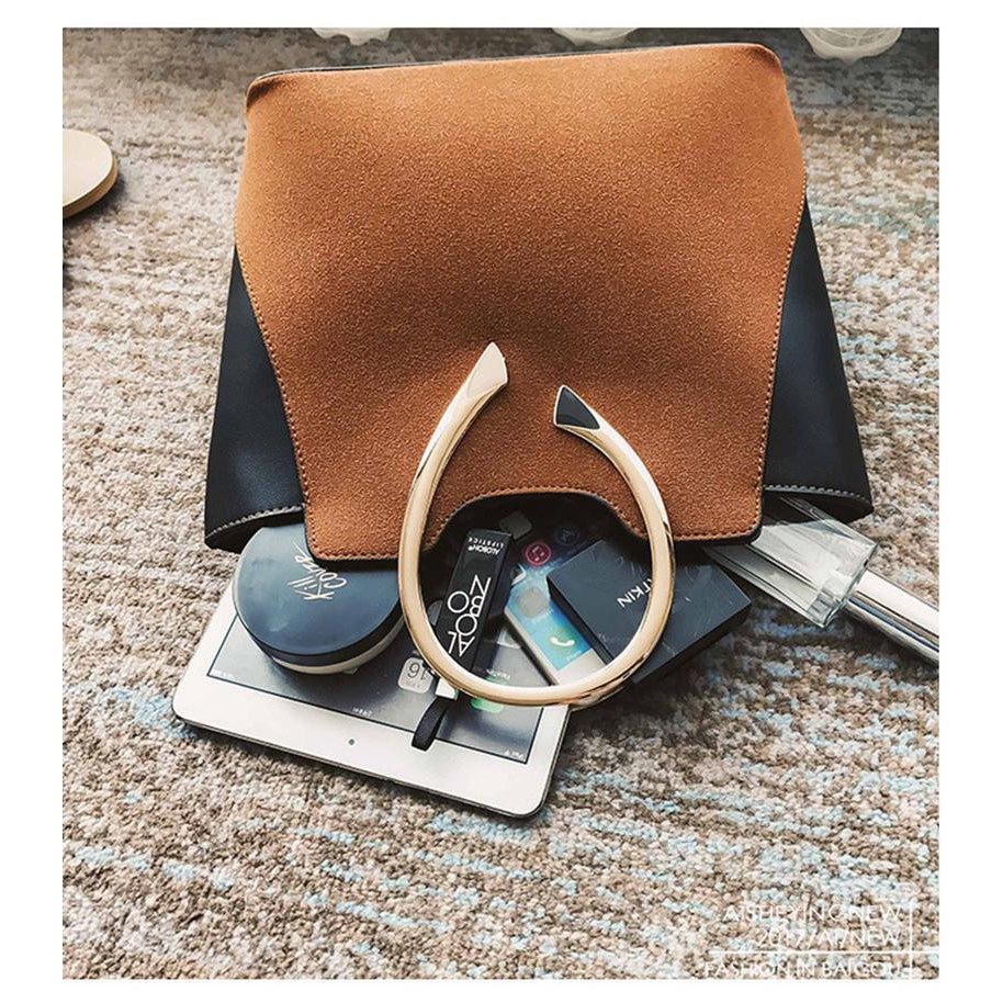 Women Brown Tote Leather Handbag with sunglasses