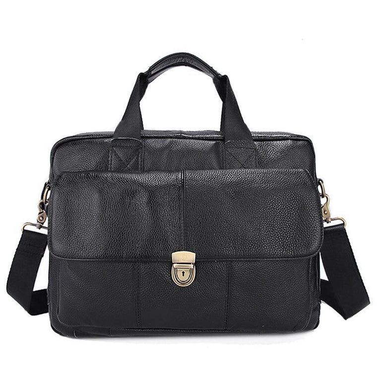 Natural Leather Branded Versatile Business Briefcase Shoulder Bag for Men