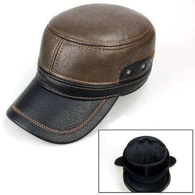Men Leather Brown Baseball Cap with Adjustable Ear Muffs and Black Visor