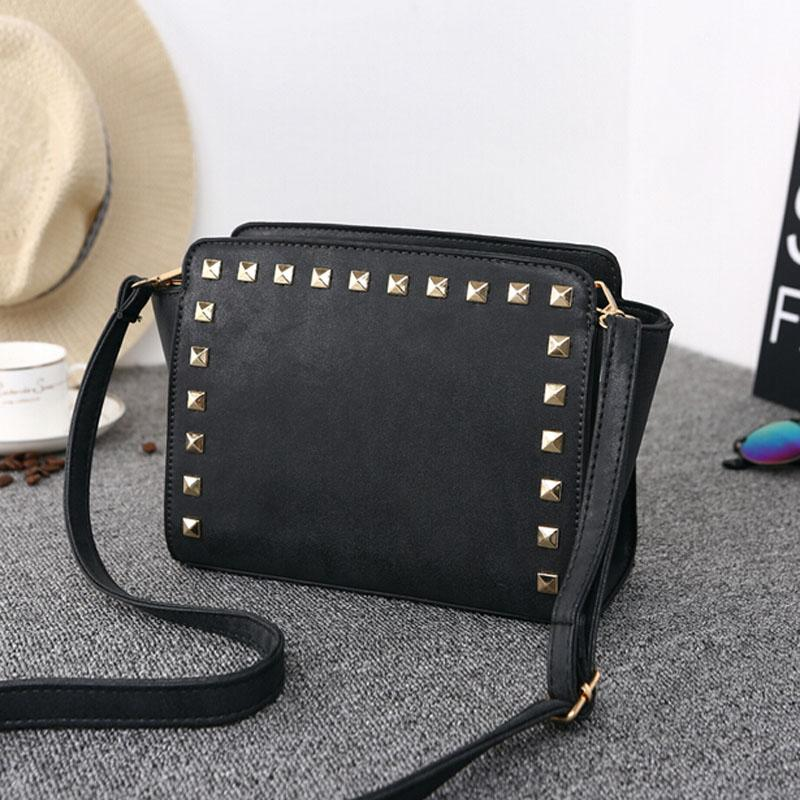 Women Black Crossbody Sling Studded Leather Bag Side