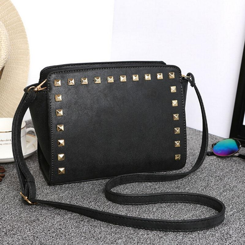 Women Black Crossbody Sling Studded Leather Bag