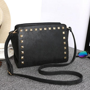 Women Crossbody Faux-Leather Sling Bag with Fashionable Spike Studs or Rivets