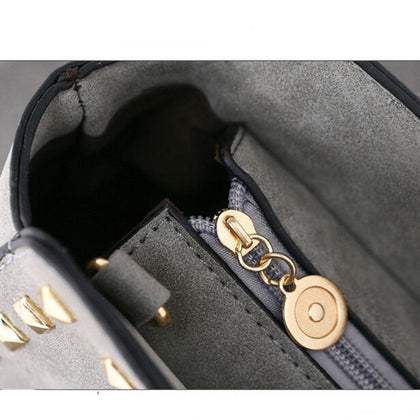 Women Black Crossbody Sling Studded Leather Bag Zipper