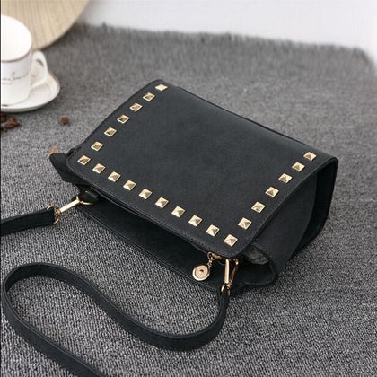 Women Black Crossbody Sling Studded Leather Bag Laydown