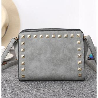 Women Grey Crossbody Sling Studded Leather Bag