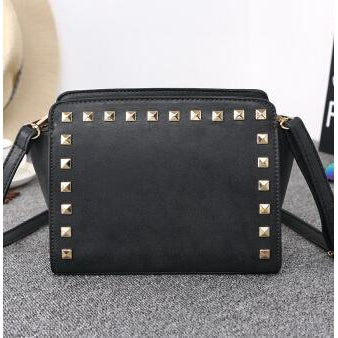 Women Black Crossbody Sling Studded Leather Bag Back