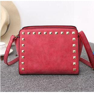 Women Red Crossbody Sling Studded Leather Bag