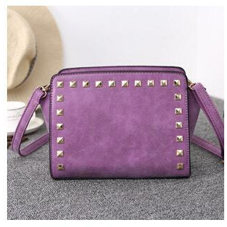 Women Purple Crossbody Sling Studded Leather Bag