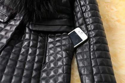 Leather Skin Women Black Diamond Quilted Leather Jacket with Black Fur