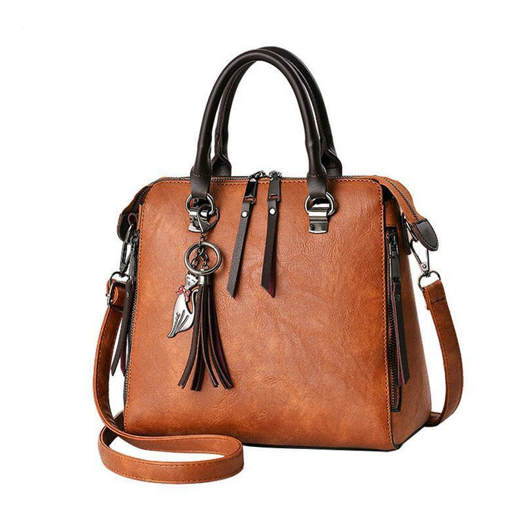 Women Leather Distressed Asymmetri Tote Cross-body Bag with Stunning Tassels