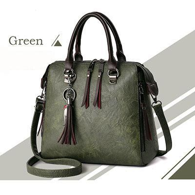 Women Faux-Leather Distressed Asymmetri Tote Cross-body Bag with Stunning Tassels