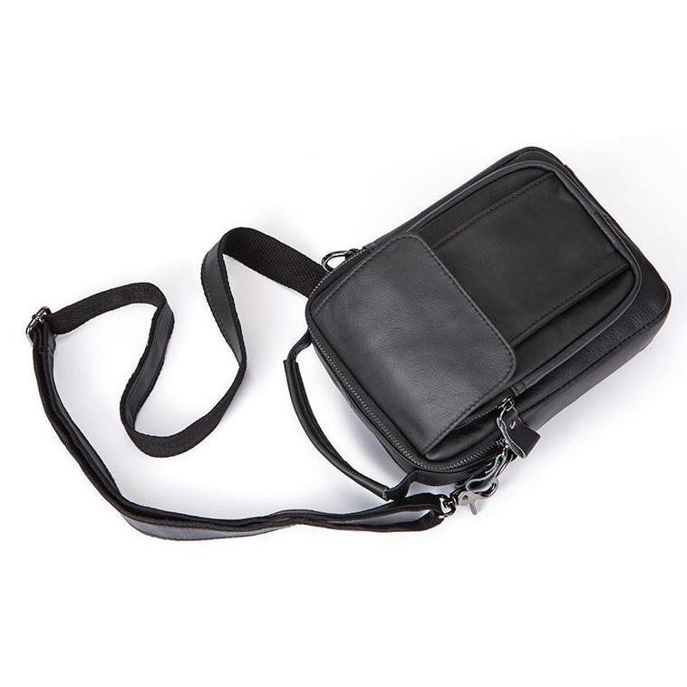 Men Cross-body Handbag Made with Original Leather and Fashionable Zippers