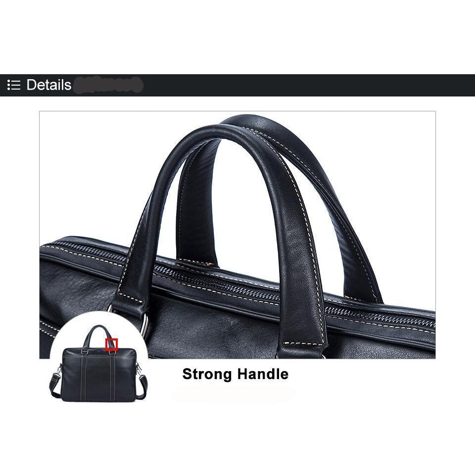 Mens Black Natural Cowhide Leather Versatile Business Briefcase