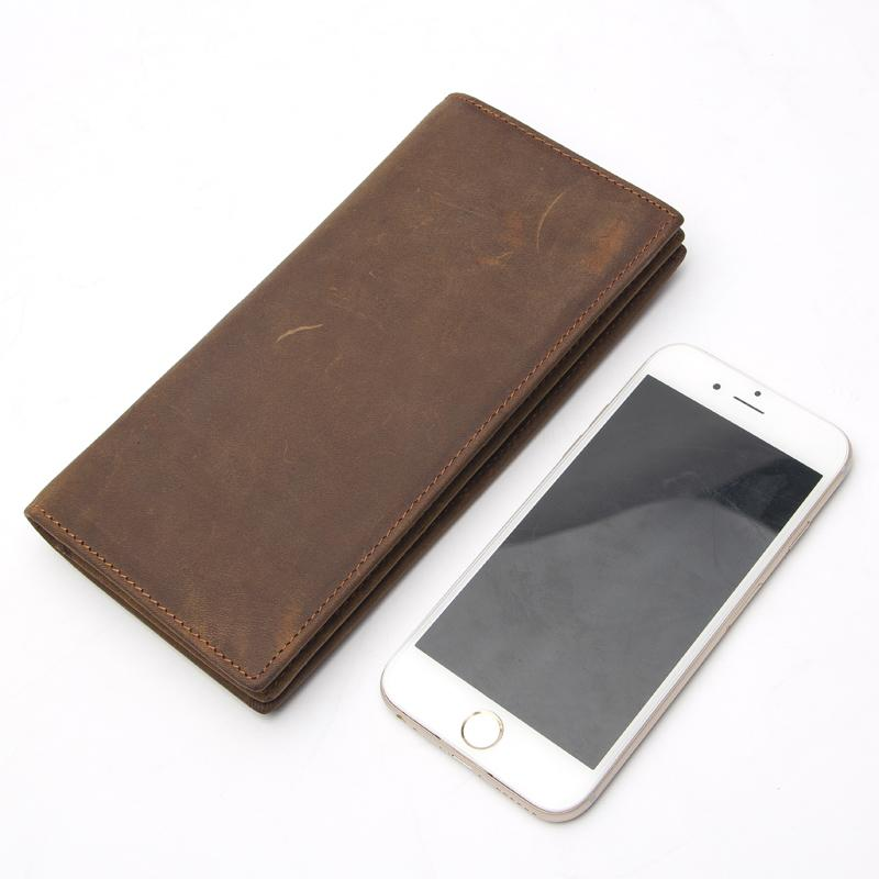 Men Distressed Premium Leather Long Size Light Brown Leather Wallet