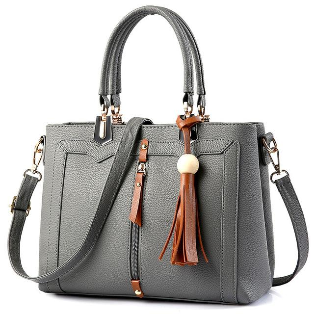 Women Lookbook Tote cross body Messenger Faux-Leather Bag with Tassels