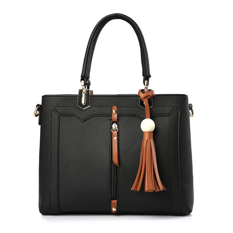 Women Tote Faux-Leather cross body Messenger Handbag Leather Bag with Leather Tassels