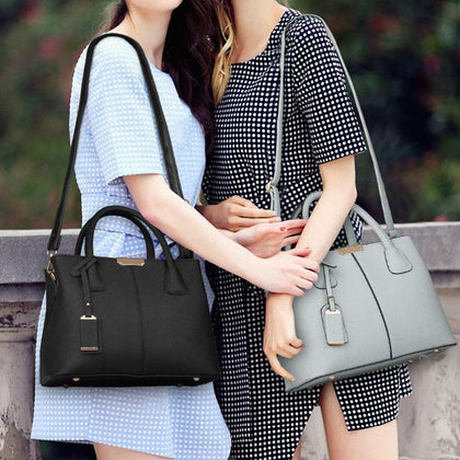 Women Black Grey Tote Messenger Leather Handbag Lookbook