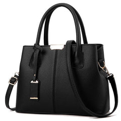Women Black Tote Messenger Leather Handbag Front View