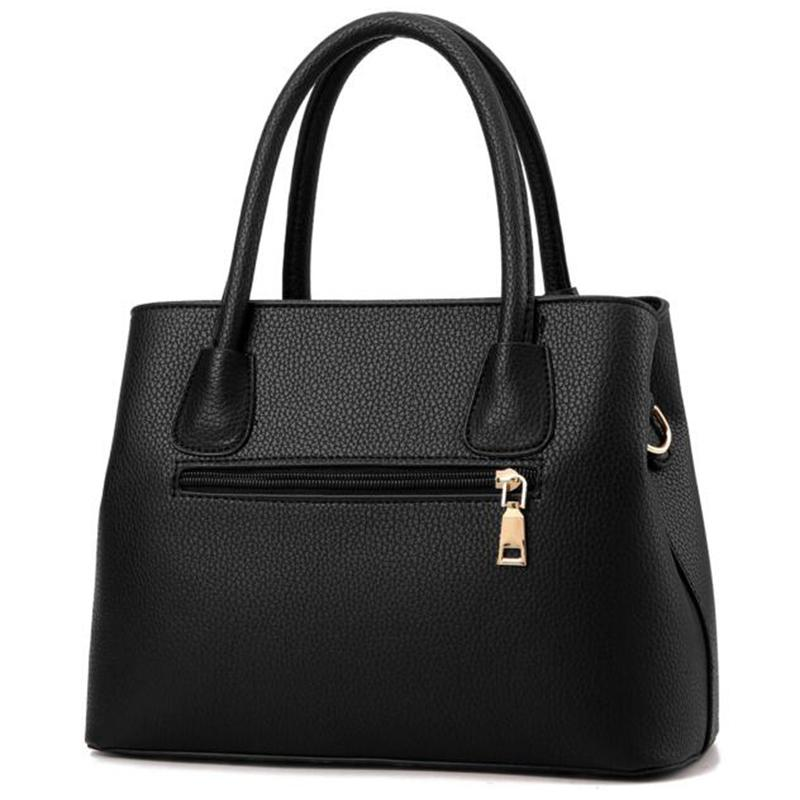 Women Black Tote Messenger Leather Handbag Back View with Slit Zipper Pocket