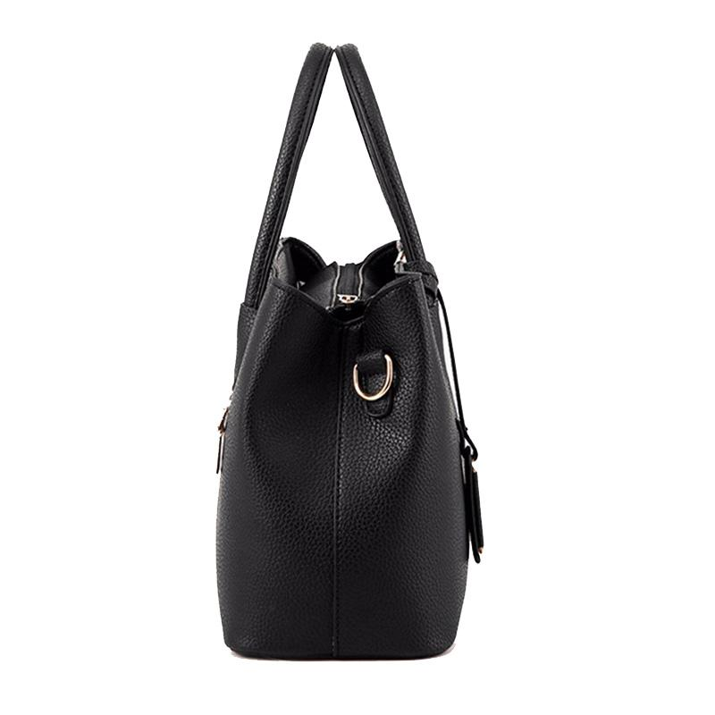 Women Black Tote Messenger Leather Handbag Side View