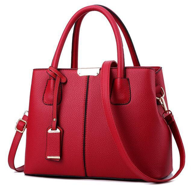 Women Wine Red Tote Messenger Leather Handbag Font View