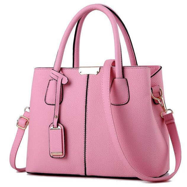 Women Pink Tote Messenger Leather Handbag Front View