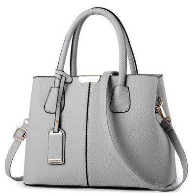 Women Grey Tote Messenger Leather Handbag Front View