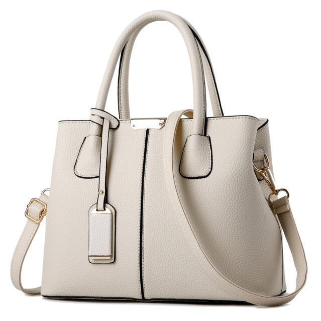 Women White Tote Messenger Leather Handbag Front View